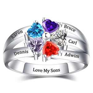 NovGarden Personalized Mothers Ring Birthstones, Customized Sterling Silver Family Rings with Names Engraved Jewelry Gift for Mother, Grandma