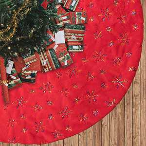 """MACTING 48 Inches Plush Luxury Faux Fur Tree Skirt with Sequined Mix-Color Snowflakes, Christmas Tree Mats for Xmas Tree Holiday Party Decorations (Red Mix-Color Snowflakes, 48"""")"""