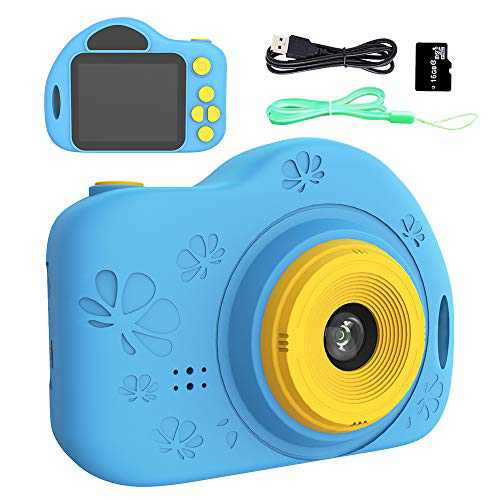 Kids Camera,Rixfit Digital Video Camera Children Creative DIY Camcorder with Rechargeable Battery Birthday/Christmas/New Year Toy Gifts for 3-12 Year Old Girls with 32GB SD Card (Blue)