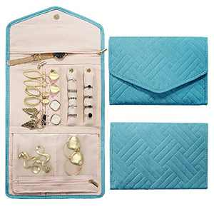 Rixfit Travel Jewellery Organizer Roll Foldable Jewelry Storage Bag Organizer for Journey-Rings, Necklaces, Bracelets, Earrings,Brooches and More (Teal)