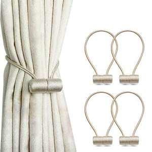 SANXIA 4 Pack Magnetic Curtain Tiebacks, European Style The Most Convenient Drape Tie Backs, Decorative Weave Rope Holdback Holder for Home Office Decorative