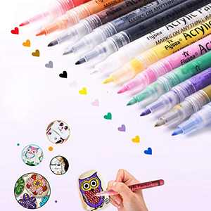 Acrylic Paint Marker Pens, l'aise vie Acrylic Markers Paint Pens for Rock Painting, Wood, Metal, Plastic, Glass, Paper, Canvas, Fabric, Mugs, Scrapbooking Craft, Card Making (0.7mm Tip, 12 Colors)