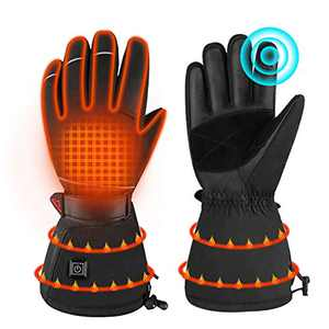 Ranger5 Heated Gloves for Men Women, Rechargable Winter Leather Snow Gloves with Touch Screen Fingers Water Proof for Ski Motorcycle Warm Gloves (L/XL)