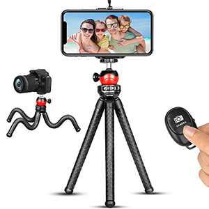Phone Tripod, Flexible Tripod Camera Tripod Stand with Wireless Remote Compatible for iPhone 13 12 Mini 11 Pro XS MAX XR X Samsung Android iPhone Tripod Stand for Live Stream Video Recording Vlogging