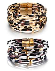 Fesciory Leopard Bracelet for Women Wrap Multi-Layer Leather Bracelet Magnetic Clasp Cuff Bangle Jewelry