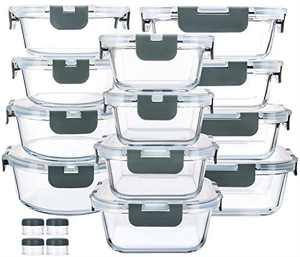 24 Pieces Glass Food Storage Containers with Upgraded Snap Locking Lids,Glass Meal Prep Containers Set - Airtight Lunch Containers, Microwave, Oven, Freezer and Dishwasher