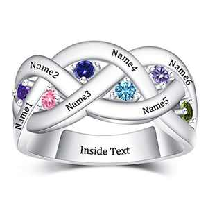 YokeDuck Mothers Ring with 3 Birthstones Personalized, 925 Sterling Silver Custom Engraved Name Anniversary Ring for Women (6 Names Ring, 7)