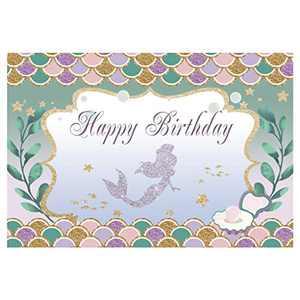 ANMAIKER Mermaid Birthday Backdrop, Happy Birthday Party Backdrop,59in X 35.4 in