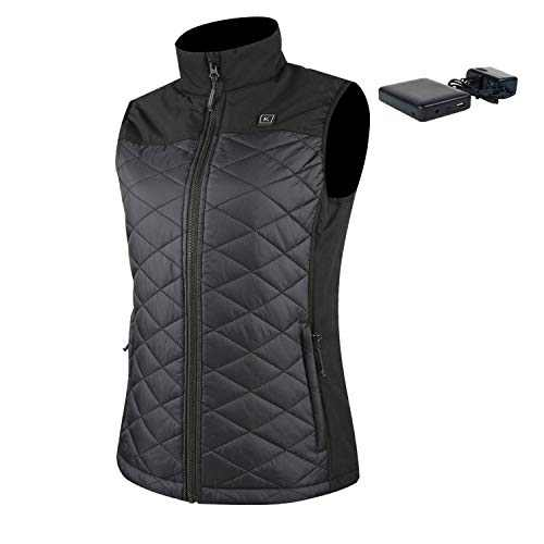 Smarkey Women's Heated Vest With Battery and Charger For Winter Outdoor Working Sporting (Black, L)