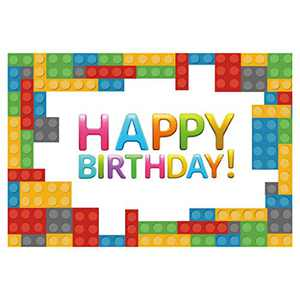 ANMAIKER Legos Backdrop,Happy Birthday Party Backdrop for Boy Girl, 59in X 35.4in Birthday Banner