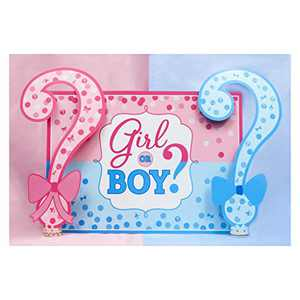 ANMAIKER Gender Reveal Backdrop,Boys or Girls Backdrop, 59in X 35.4in Happy Birthday Party Backdrop