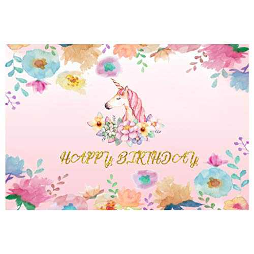 ANMAIKER Unicorn Birthday Backdrop, Happy Birthday Party Backdrop,59in X 35.4 in