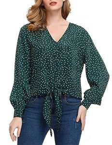 JASAMBAC Polka Dots Tees for Women Casual Work Womens V-Neck T Shirt Plus Size 2XL Green