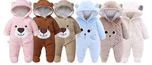 Slivery Color Baby's Snowsuit Newborn Baby Girls Boys Hooded Romper Jumpsuit Cartoon Bear Outfits Winter Warm Bodysuit Blue