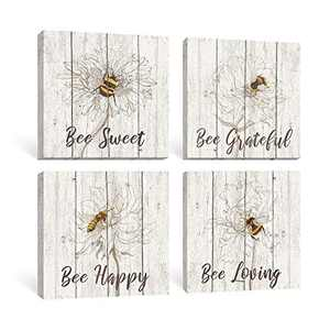 Takfot Inspirational Wall Art Motivational Quote Signs with Sayings Home Decor Canvas Painting Vintage Artwork for Bedroom Office 12x12 Inch 4 Panels,Bee Sweet Bee Happy Bee Grateful Bee Loving Quotes