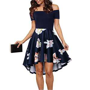 CUQY Womens Off The Shoulder High Low Hem Cocktail Skater Wedding Party Teen Formal Dresses (0013-Navy, XS)
