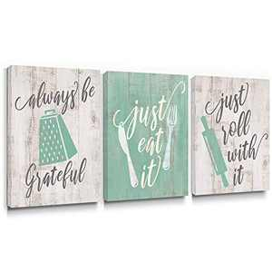 takfot Kitchen Wall Art Kitchen Accessories Kitchenware Dinningware with Sayings Fresh Paintings Teal and Beige Home Decor Ready to Hang for Living Dining Room 12x16 Inch, 3 Panels
