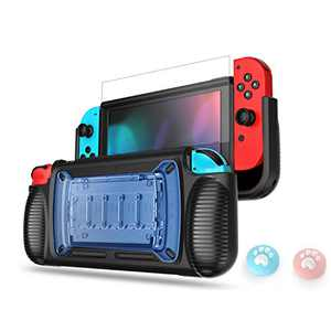 LeyuSmart Grip Case for Nintendo Switch, with Tempered Glass Screen Protector & Cat Claw Caps (Blue)