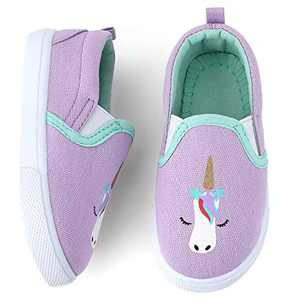 okilol Toddler Girl Shoes Kids Canvas Sneakers Loafer Shoes for Walking, Outdoor, Running Purple/Unicorn 6 M US Toddler