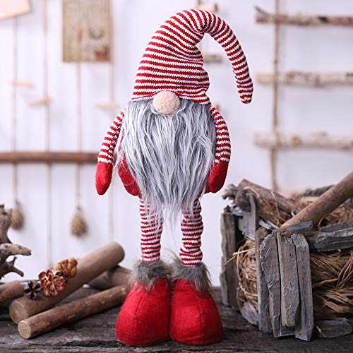 Oternal Handmade Swedish Gnome, Scandinavian Tomte, Yule Santa Nisse, Nordic Figurine, Plush Elf Toy, Home Decor, Winter Table Ornament, Christmas Decorations, Holiday Presents - 24 Inches (Red)