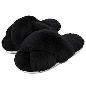 Women Fluffy Soft Plush Faux Bunny Fur Memory Foam Lightweight Warm House Slippers Open Toe Cute Flat Outdoor/Indoor Slip on Anti-Slip gifts Slippers43BLACK