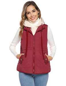 Akalnny Women Sleeveless Vest Lightweight Zip Hoodie Drawstring Waistcoat Puffer Vest Jackets(Wine Red,Large)