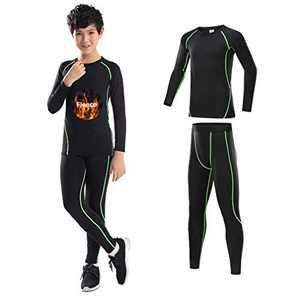 2/3/4 Pcs Boys Girls Athletic Compression Leggings and Shirts Running Pants Tights Base Layer Thermal Set