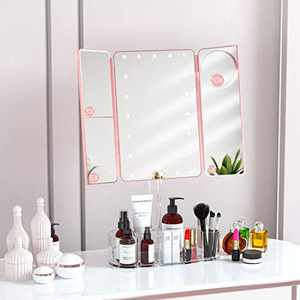 """FENCHILIN Lighted Makeup Mirror with Bluetooth Speaker(15""""x14""""),Magnifying Vanity Mirror with Lights(1X/3X/5X), Dimmable Lightings Rechargable Power Adjustable Angle Comestic Tray Rose Gold"""