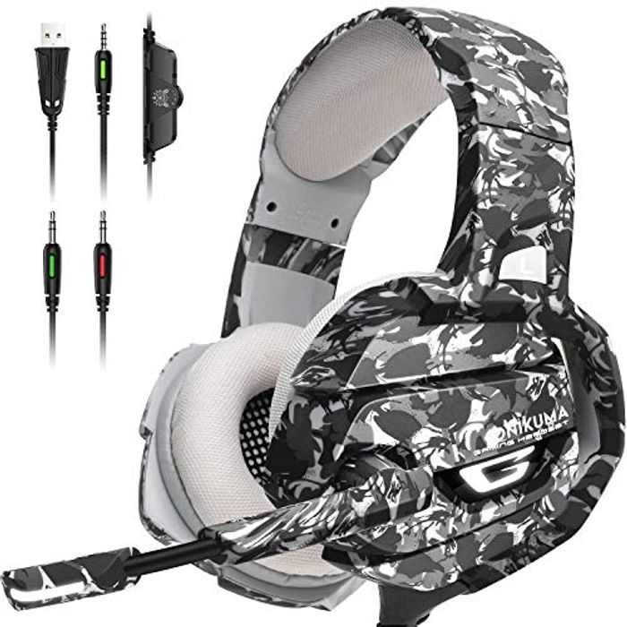 ONIKUMA Gaming Headset PS4 Headphone - Gaming Headset for PS5 Xbox One PC with 7.1 Surround Sound, with Noise Canceling Mic, LED Light and Memory Earmuffs for MAC, Switch, Laptop(Adapter Not Included)