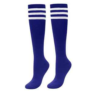 CHIC DIARY Women's Stripes Knee High Tube Socks Thigh Tights Casual High Stockings (Blue)