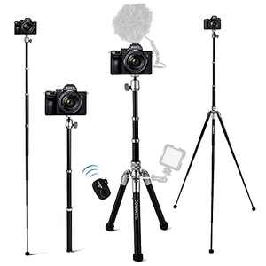 Camera Tripod, COMAN 3 in 1 Phone Tripod and Selfie Stick Tripod Stand with Bluetooth Remote 57 inch Compatible with iPhone