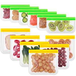 Reusable Storage Bags, Funbiz 12 Pack Freezer Bags (6 Leakproof Reusable Sandwich Bags + 6 Thick Reusable Snack Bags) BPA Free Reusable Plastic Bags for Food Storage Travel Makeup