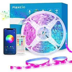 Smart WiFi LED Strip Lights 32.8ft, Maxcio Music Sync Light Strip Compatible with Alexa Google Home, 5050 RGB Color Changing LED Lights with 40-Key Remote & Adapter for Home, Bedroom & Party