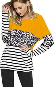 Leopard Print Tops Colorblock Shirt Casual Raglan Long Sleeve Pullover Sweatshirt Tunic Yellow S
