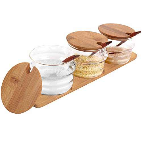 Freehawk Condiment Container Seasoning Box Set Salt Sugar Spice Pepper Condiment Container Kitchen Cruet Seasoning Pots with Bamboo Wooden Spoon Lid and Base, Set of 3 (Human Shape 300ml)