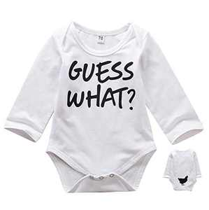 Newborn Baby GOT My Mind ON My Mommy Paws Funny Bodysuits Rompers Outfits Grey White 0-18M (Z-Z Guess What Long Sleeve, 0-3M)