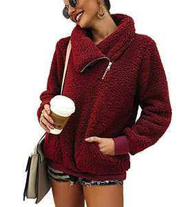 Women's Long Sleeve Half Oblique Zipper Pullover Turtleneck Fleece Fuzzy Sweatshirt Tops (Wine Red, 2XL)