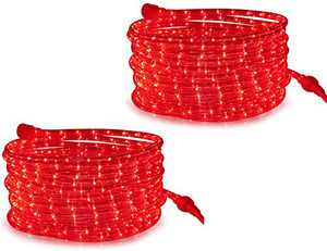 Tupkee LED Rope Light Red - 24 Feet (7.3 m), for Indoor and Outdoor use - 10MM Diameter - 144 LED Long Life Bulbs Rope Tube Lights - Pack of 2