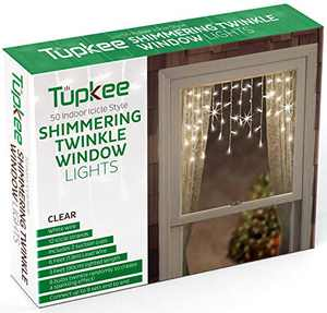 Tupkee Twinkle Window Icicle Lights, 3 Feet (0.91 m), 50 Clear Incandescent Christmas Indoor Twinkle Icicle Lights