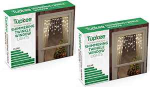Tupkee Twinkle Window Icicle Lights, 3 Feet (0.91 m), 50 Clear Incandescent Christmas Indoor Twinkle Icicle Lights - 2 Pack
