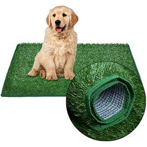 """LOOBANI Dog Hemming Grass Bathroom Pads, Artificial Turf Pet Grass Replacement Mat, Portable Puppy Potty Trainer for Indoor/Outdoor Use (18"""" x 28"""")"""