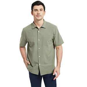 Havana Breeze Men's Short-Sleeve Shirt Camp Shirt Solid Button Down Tees Grass Green