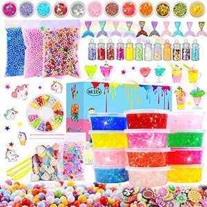Slime Kit Slime Supplies - Clear Crystal Slime, Foam Beads, Fish Beads, Unicorns and Mermaids for Kids Slime Making and Party Favors Decorations