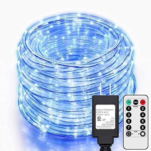 SHINE HAI 99Ft LED Rope Lights Outdoor, 500 LEDs Fairy String Lights Plug in 8 Modes, Dimmable, Super Durable, Waterproof String Lights Outdoor Indoor for Patio Wedding Christmas (Blue)