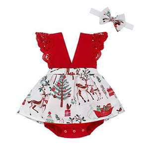 Toddler Baby Girl 2Pcs Romper + Headband Floral Sleeveless Lace Infant Newborn Jumpsuit Sets (6-12 Months, Christmas Romper for Baby Girl)