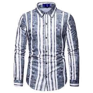 YUNCLOS Men's Vertical Stripe Button Down Shirt Long Sleeve Work Wear Dress Shirt Gray