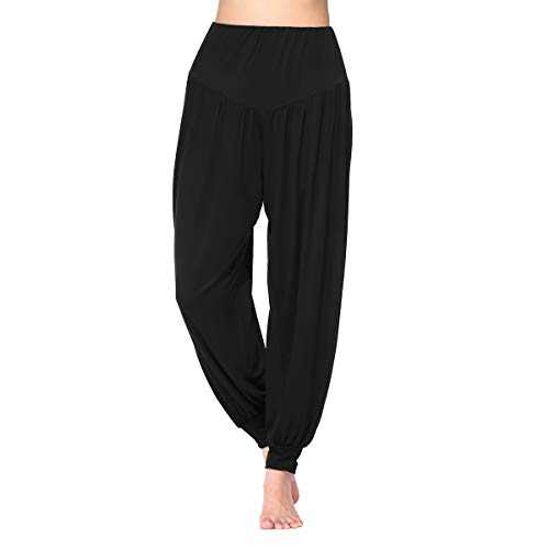 Shmimy Womens Harem Pants Loose High Waisted Modal Yoga Pants for Women Black M