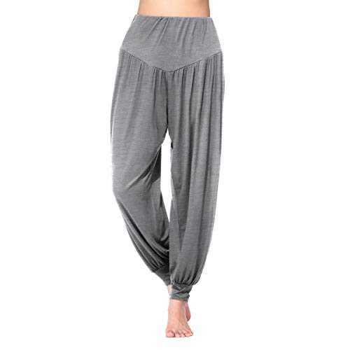 Shmimy Womens Harem Pants Loose High Waisted Modal Yoga Pants for Women Dark Grey L