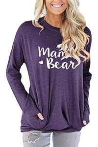 ONLYSHE Mama Bear T Shirts for Women Long Sleeve Tunic Tops Casual Loose Fit Comfy Purple