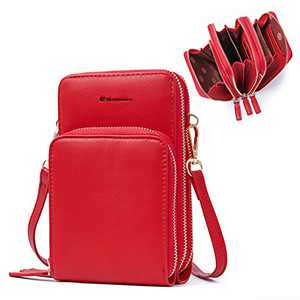 Cell Phone Purse,Small Crossbody Bags For Women with Card Slots,Red